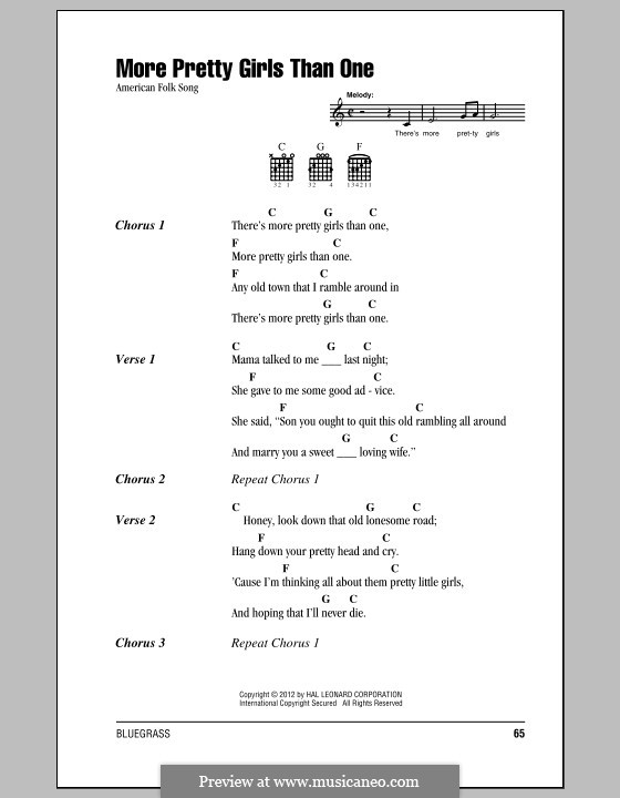 More Pretty Girls Than One By Folklore Sheet Music On Musicaneo