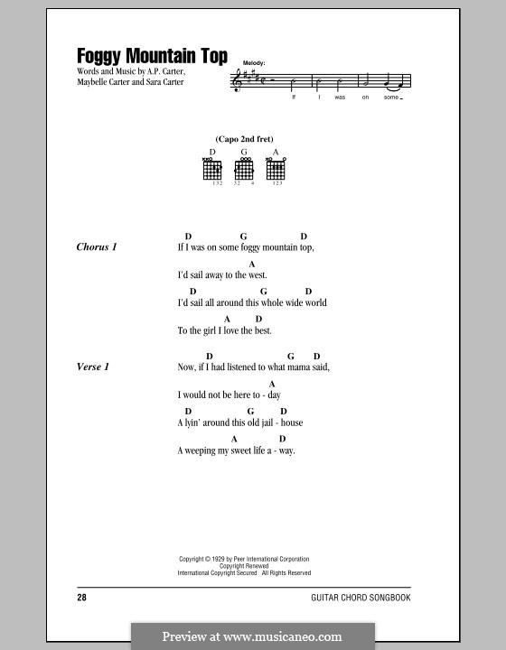 Foggy Mountain Top (The Carter Family): Lyrics and chords by A.P. Carter, Maybelle Carter, Sara Carter