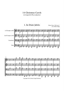 14 Christmas Carols: For brass quartet by Georg Friedrich Händel, Felix Mendelssohn-Bartholdy, folklore, Franz Xaver Gruber, John Francis Wade, William (James) Kirkpatrick, John Reading, Richard Storrs Willis, Liang Chien Fong