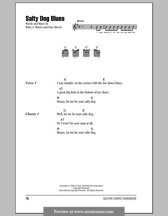 Salty Dog Blues (Flatt & Scruggs): Lyrics and chords by Wiley A. Morris, Zeke Morris