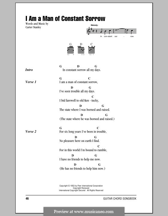 I am a Man of Constant Sorrow (The Soggy Bottom Boys): Lead sheet by Carter Stanley