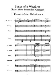 Lieder eines fahrenden Gesellen (Songs of a Wayfarer): For voice and orchestra by Gustav Mahler