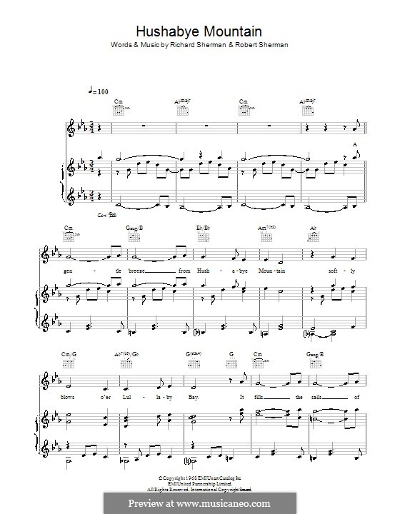 Hushabye Mountain By Rm Sherman Rb Sherman Sheet Music On
