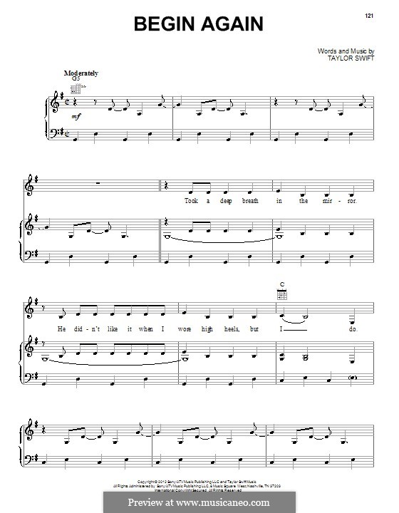 Begin Again: For voice and piano (or guitar) by Taylor Swift