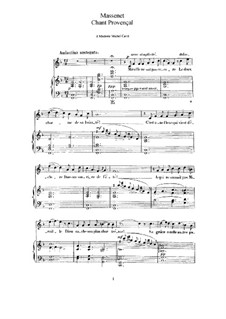 Chant Provençal: Piano-vocal score by Jules Massenet