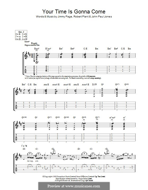 Your Time Is Gonna Come (Led Zeppelin): For guitar with tab by John Paul Jones, Jimmy Page, Robert Plant