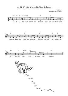 ABC, die Katze lief im Schnee: Lead sheet by folklore