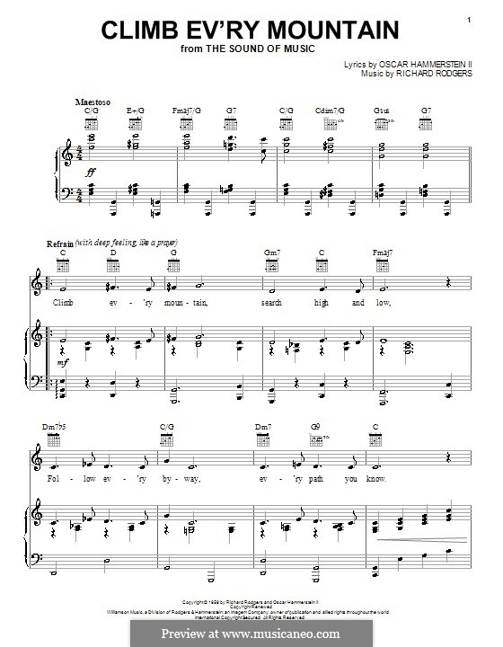 Climb Ev'ry Mountain: For voice and piano (or guitar) by Richard Rodgers