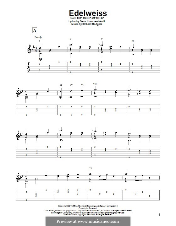 Edelweiss (from The Sound of Music): For guitar with tab by Richard Rodgers