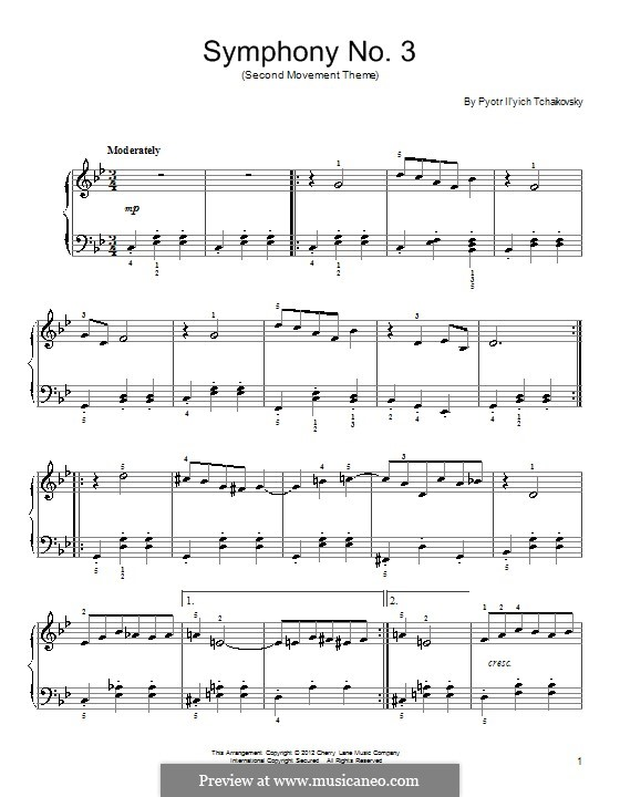 Symphony No.3 in D Major 'Polish', TH 26 Op.29: Movement I (Excerpt). Version for piano by Pyotr Tchaikovsky