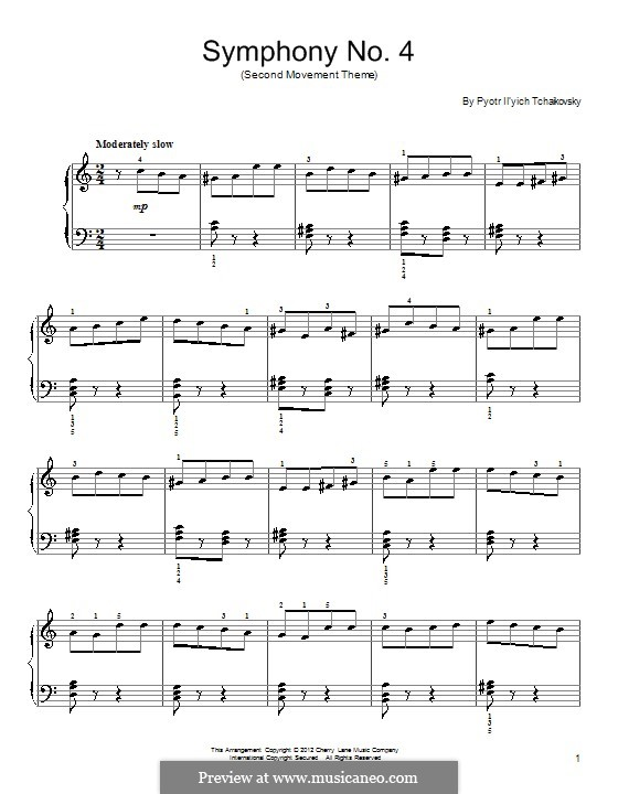 Symphony No.4 in F Minor, TH 27 Op.36: Movement II (Excerpt). Version for piano by Pyotr Tchaikovsky