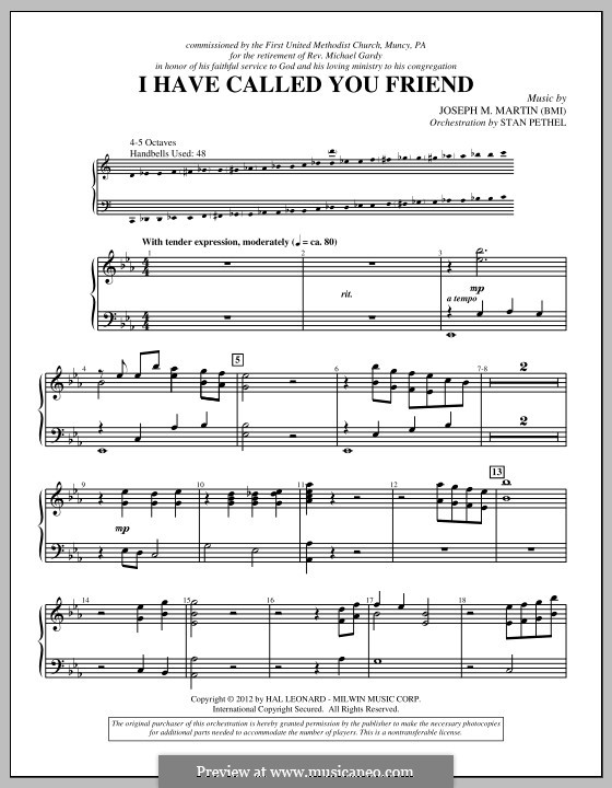 I Have Called You Friend: Percussion part by Joseph M. Martin