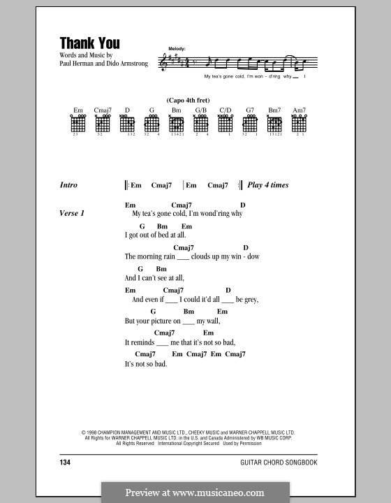 Thank You (Dido): Lyrics and chords by Dido Armstrong, Paul Herman