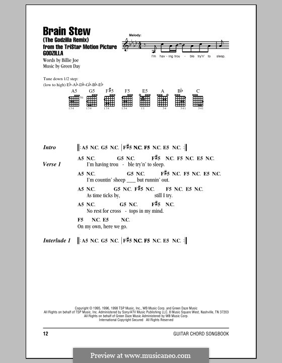 Brain Stew / The Godzilla Remix (Green Day): Lyrics and chords by Billie Joe Armstrong