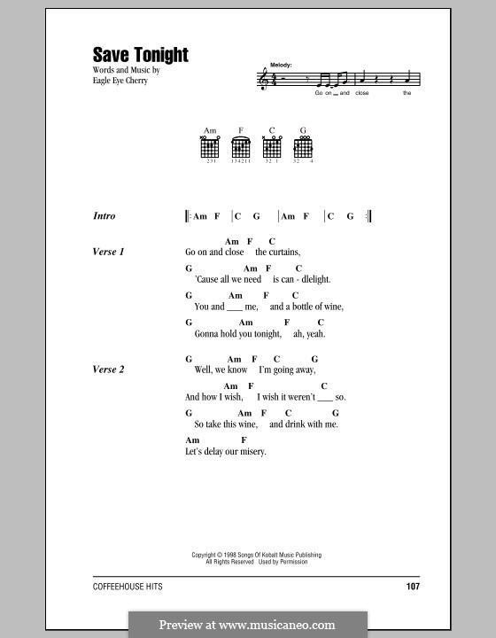 Save Tonight: Lyrics and chords by Eagle-Eye Cherry
