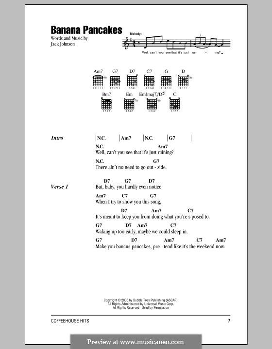 Banana Pancakes by J. Johnson - sheet music on MusicaNeo