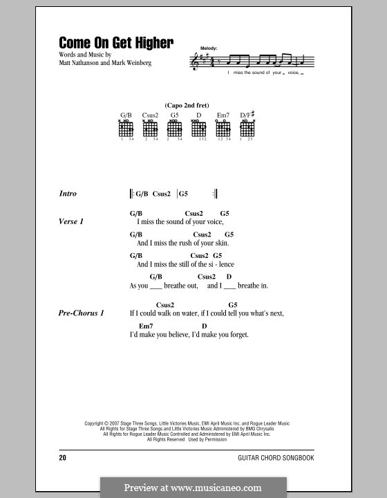 Come On Get Higher: Lyrics and chords by Mark Weinberg