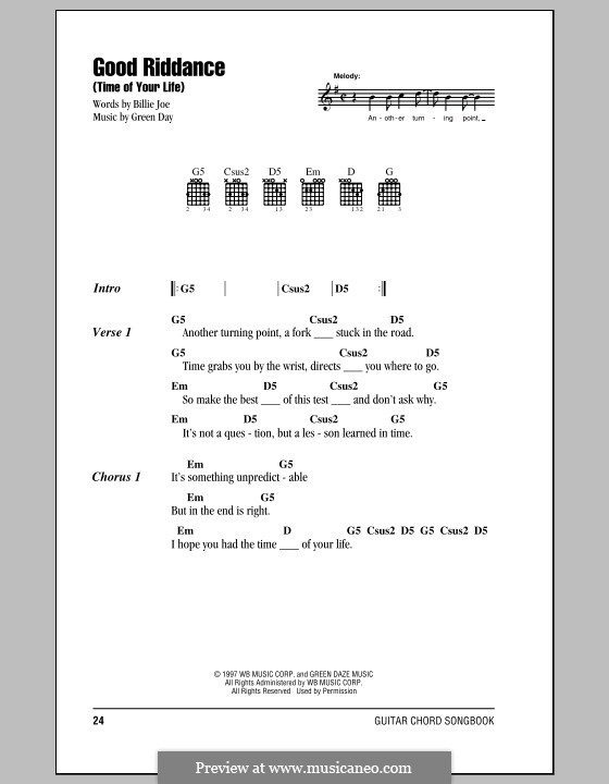 Good Riddance (Time of Your Life): Lyrics and chords by Billie Joe Armstrong, Tré Cool, Michael Pritchard