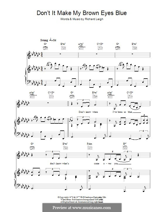 Don't It Make My Brown Eyes Blue (Crystal Gayle): Lyrics and chords by Richard Leigh