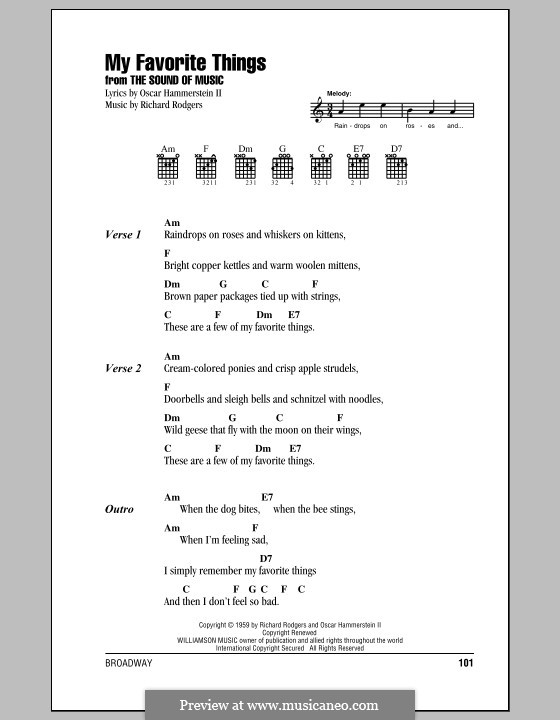 My Favorite Things (from The Sound of Music): Lyrics and chords by Richard Rodgers