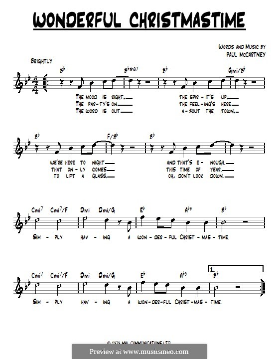 Wonderful Christmastime: Lyrics and chords by Paul McCartney