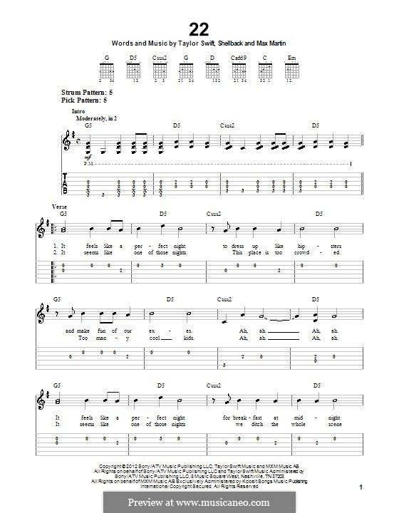 22: For guitar with tab by Taylor Swift