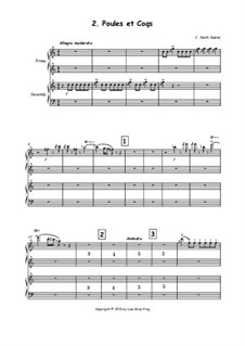 Hens and Roosters: Version for piano four hands by Camille Saint-Saëns