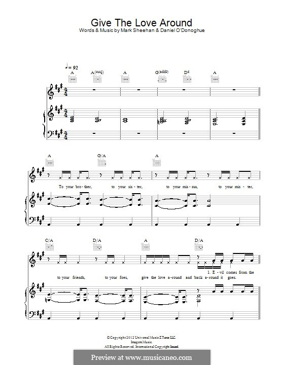 Give the Love Around (The Script): For voice and piano (or guitar) by Danny O'Donoghue, Mark Sheehan