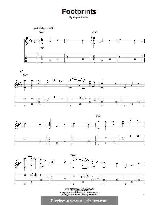 Footprints: For guitar with tab by Wayne Shorter
