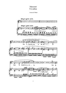 Un adieu: For high voice and piano by Jules Massenet