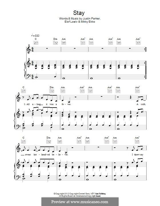 Stay (Rihanna) by J. Parker, E. Loelv, M. Ekko - sheet music on ...