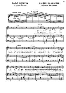 La bohème: Valser di Musette, for voice and piano by Ruggero Leoncavallo