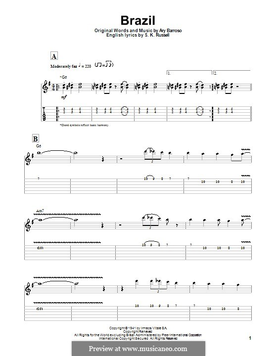 Brazil (The Ritchie Family): For guitar with tab by Ary Barroso