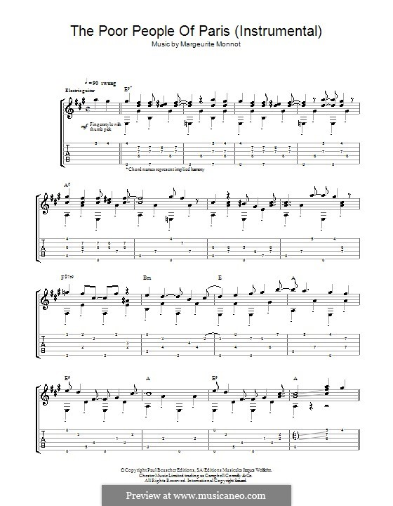 The Poor People of Paris (Jean's Song): For guitar with tab by Marguerite Monnot, Rene Rouzaud