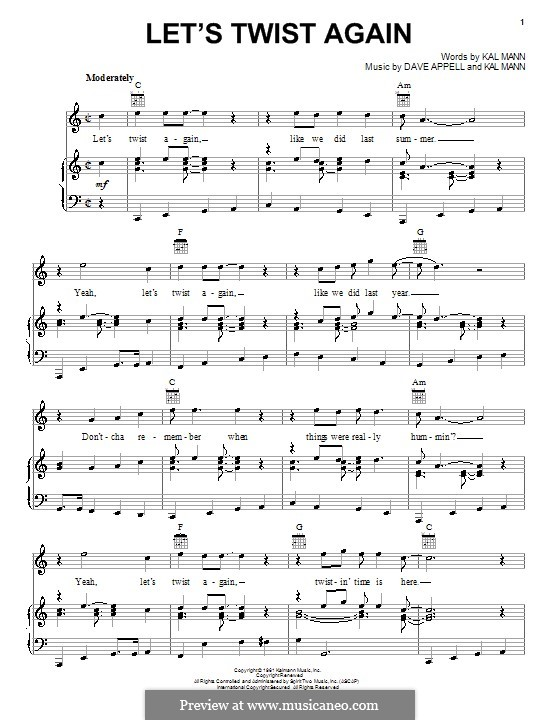 Let's Twist Again (Chubby Checker): For voice and piano (or guitar) by Dave Appell, Kal Mann