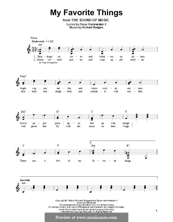 My Favorite Things (from The Sound of Music): For guitar with tab by Richard Rodgers