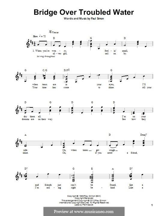 Bridge Over Troubled Water: For guitar with tab by Paul Simon