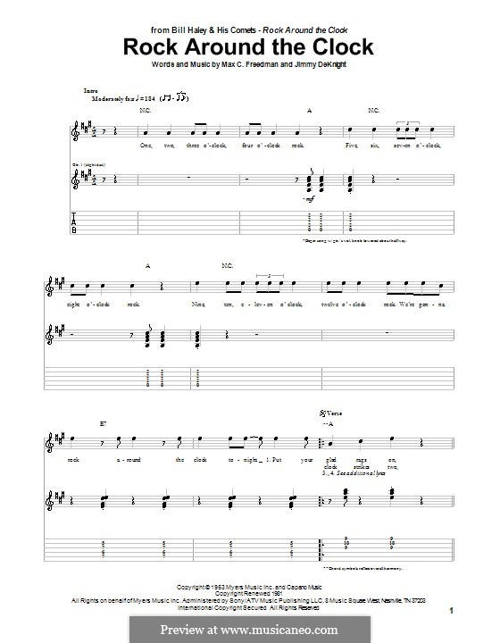 Rock Around the Clock (Bill Haley and His Comets): For guitar with tab by Jimmy DeKnight, Max C. Freedman