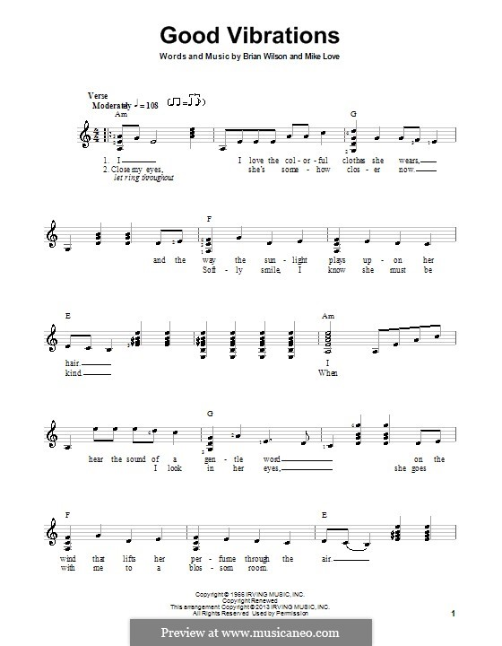 Good Vibrations (The Beach Boys): For guitar with tab by Brian Wilson, Mike Love