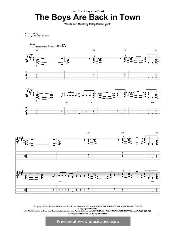The Boys Are Back in Town (Thin Lizzy): For guitar with tab by Phil Lynott
