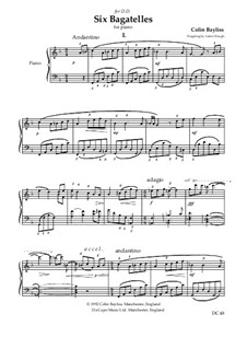 6 Bagatelles for piano: 6 Bagatelles for piano by Colin Bayliss