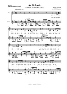 An die Laute (To the Lute), D.905 Op.81 No.2: For low voice and classical guitar by Franz Schubert