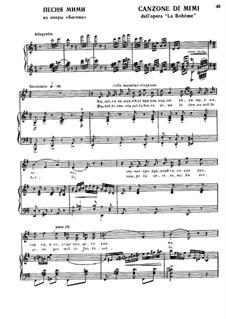 La bohème: Canzone di Mimi, for voice and piano by Ruggero Leoncavallo
