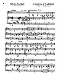 La bohème: Romanza de Marcello, for voice and piano by Ruggero Leoncavallo