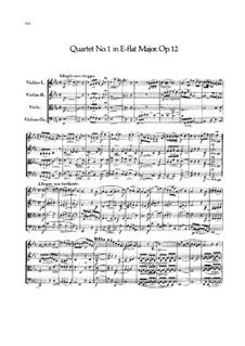 String Quartet No.1 in E Flat Major, Op.12: Full score by Felix Mendelssohn-Bartholdy