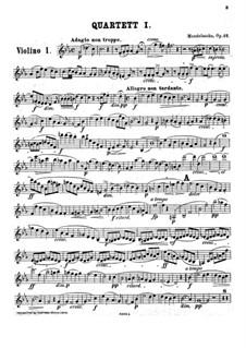 String Quartet No.1 in E Flat Major, Op.12: Violin I part by Felix Mendelssohn-Bartholdy