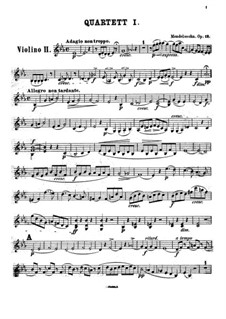 String Quartet No.1 in E Flat Major, Op.12: Violin II part by Felix Mendelssohn-Bartholdy