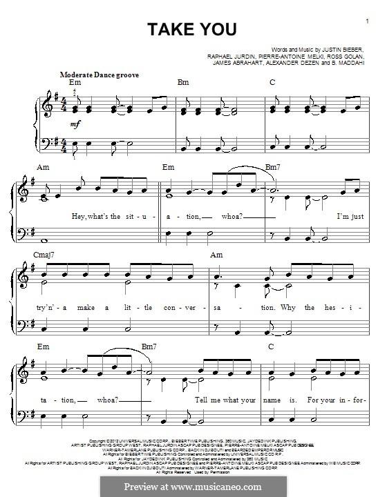 Take You: For piano by Justin Bieber, Rosi Golan, Ben Maddahi, Pierre-Antoine Melki, James Abrahart Jr.