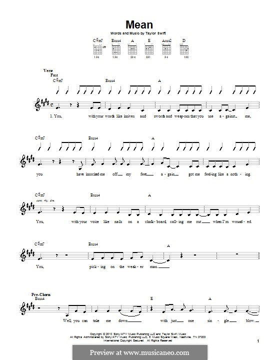 Mean: For guitar with tab by Taylor Swift
