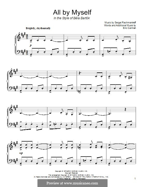 All By Myself: For piano by Eric Carmen